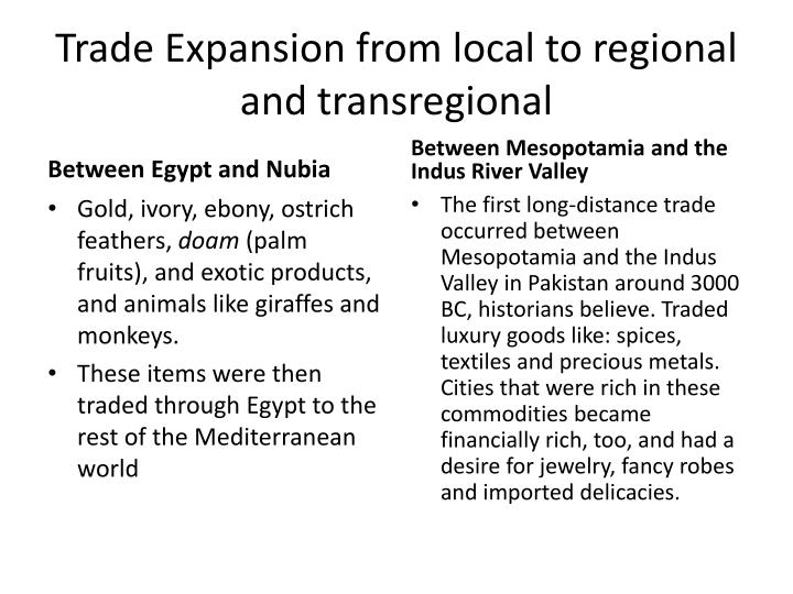 Trade expansion from local to regional and transregional