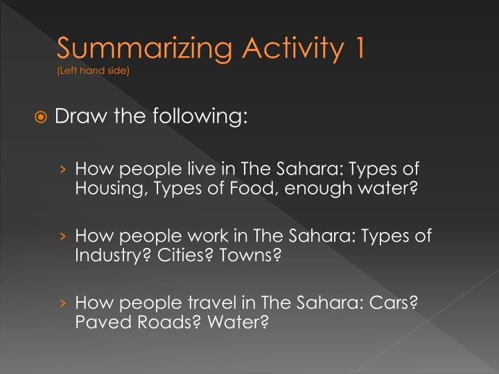 Summarizing Activity 1