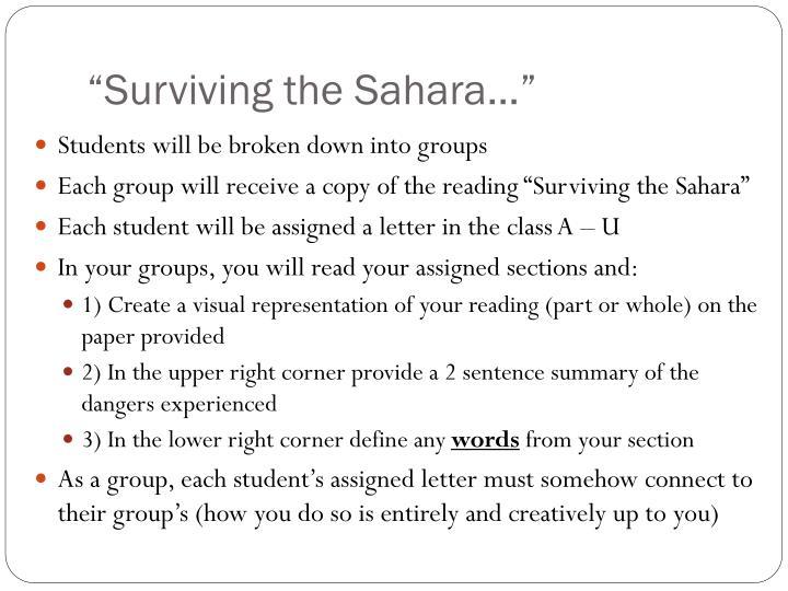 """Surviving the Sahara…"""