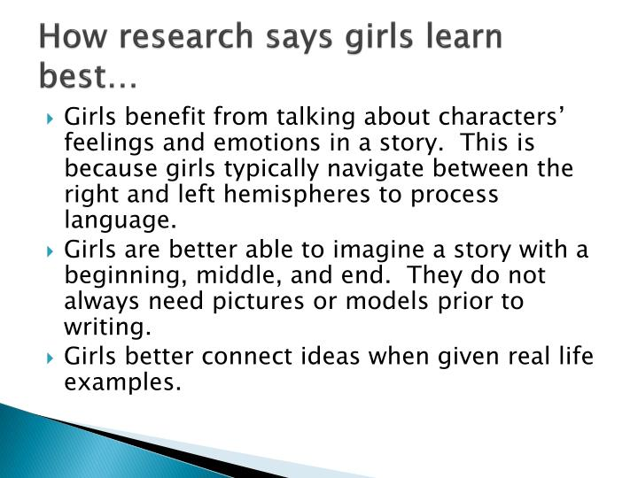 How research says girls learn best…