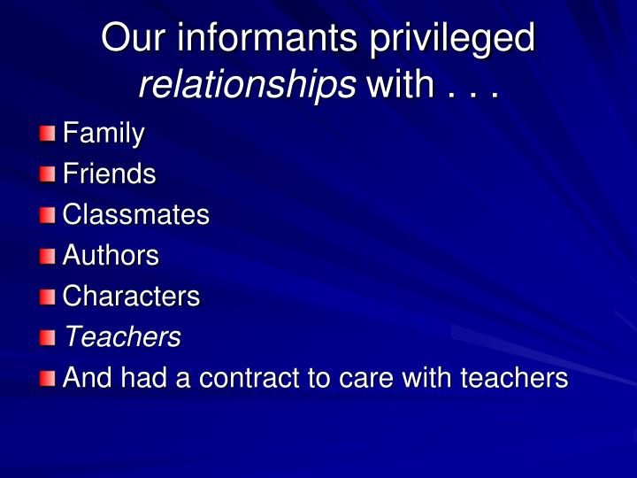 Our informants privileged
