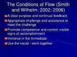 the conditions of flow smith and wilhelm 2002 2006