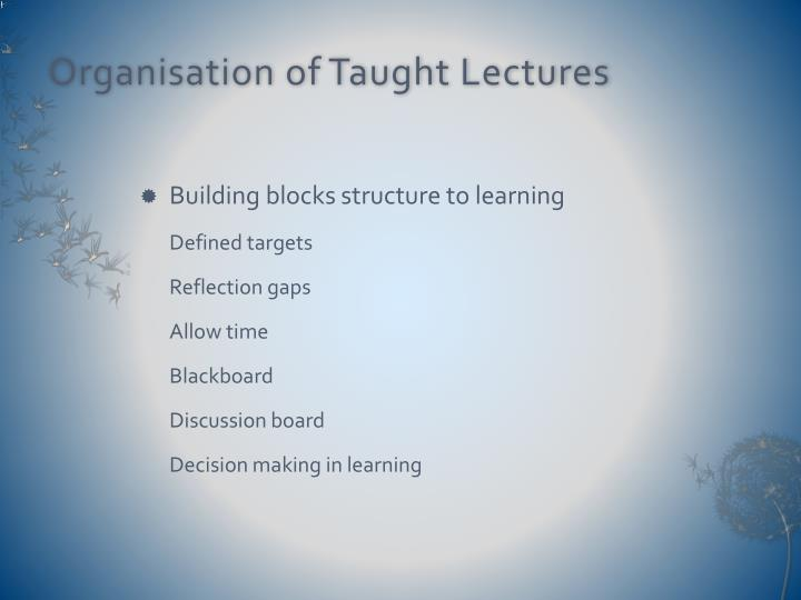 Organisation of Taught Lectures