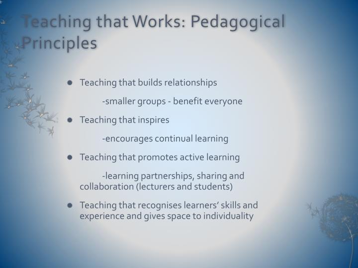 Teaching that Works: Pedagogical Principles