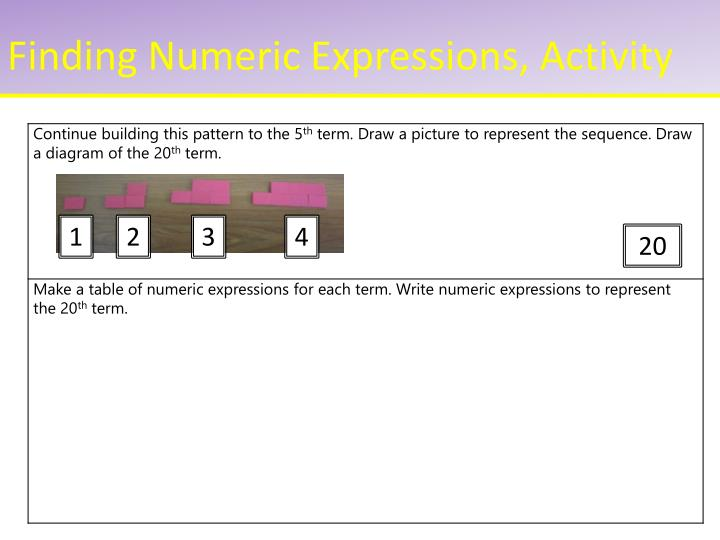Finding Numeric Expressions, Activity