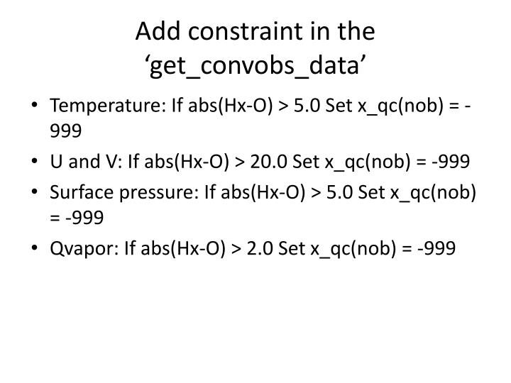 Add constraint in the '