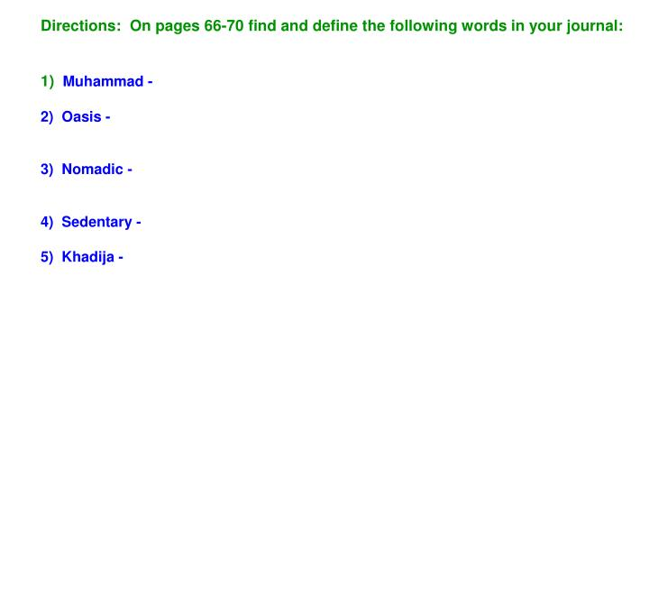 Directions:  On pages 66-70 find and define the following words in your journal: