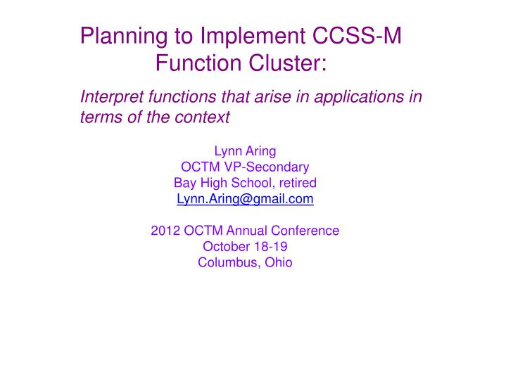 Planning to Implement CCSS-M