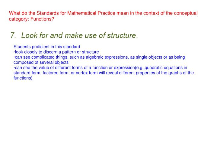 What do the Standards for Mathematical Practice mean in the context of the conceptual category: Functions?