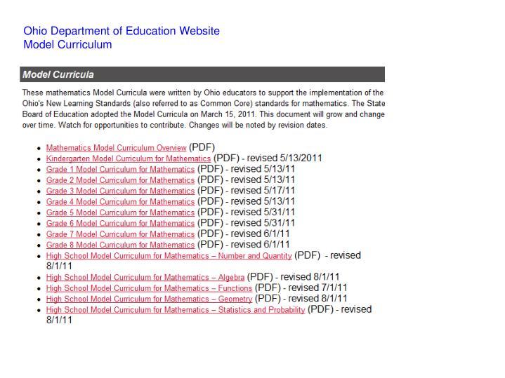 Ohio Department of Education Website