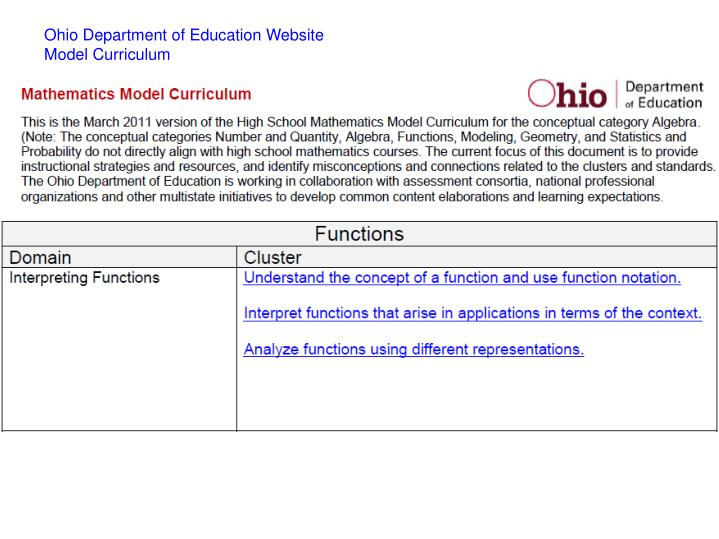 Ohio Department of Education Website