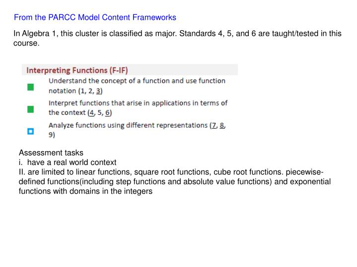 From the PARCC Model Content Frameworks