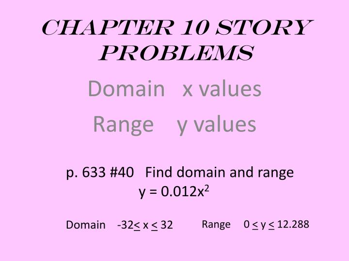 Chapter 10 Story Problems