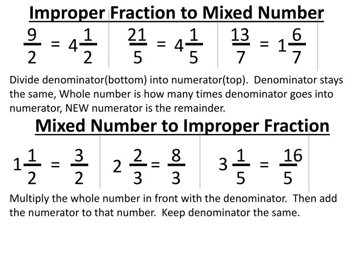 Improper fraction to mixed number