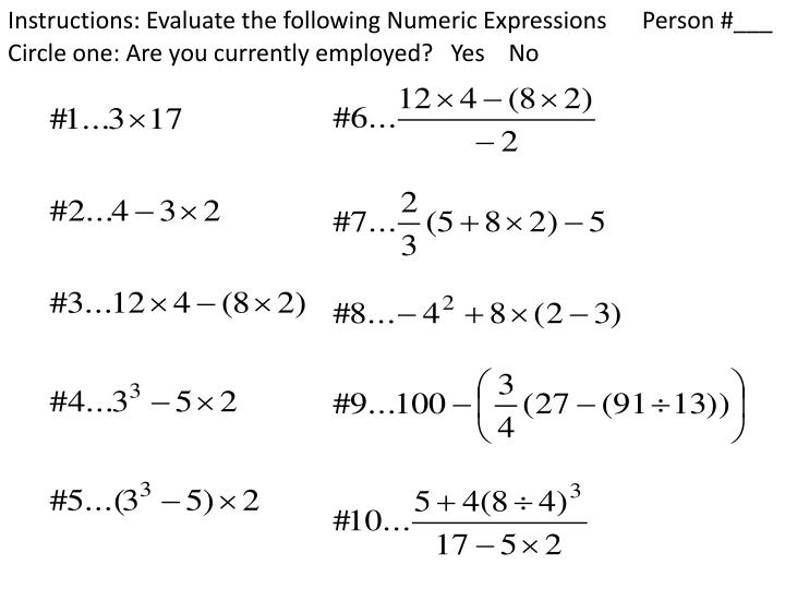 Instructions evaluate the following numeric expressions person