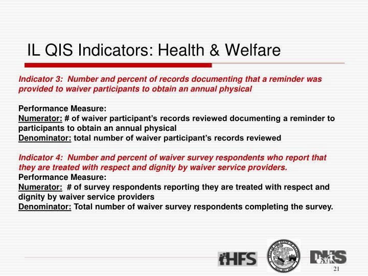 IL QIS Indicators: Health & Welfare
