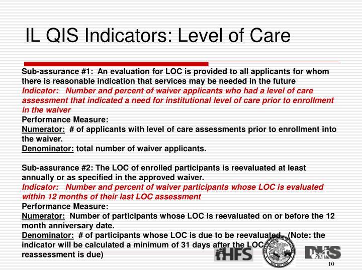 IL QIS Indicators: Level of Care