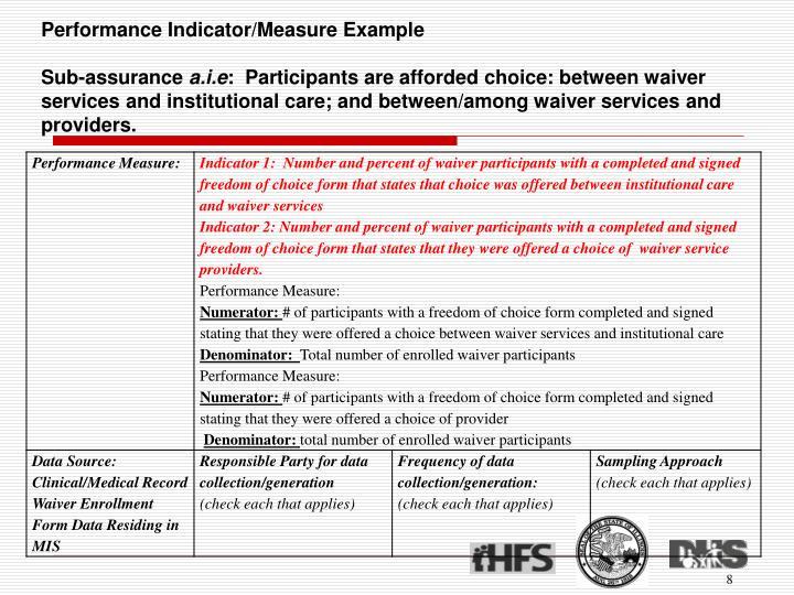 Performance Indicator/Measure Example