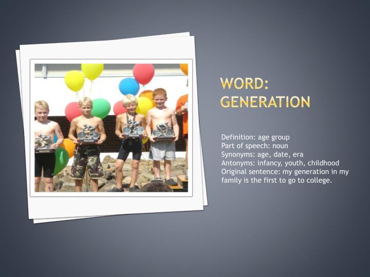 Word: generation
