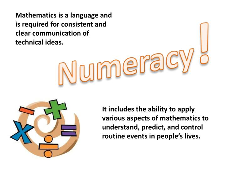 Mathematics is a language and is required for consistent and clear communication of technical ideas.