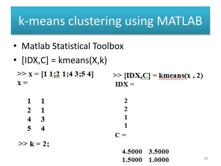 k-means clustering using MATLAB