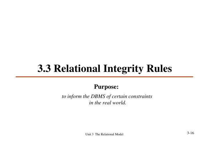 3.3 Relational Integrity Rules