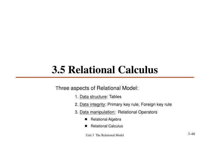 3.5 Relational Calculus