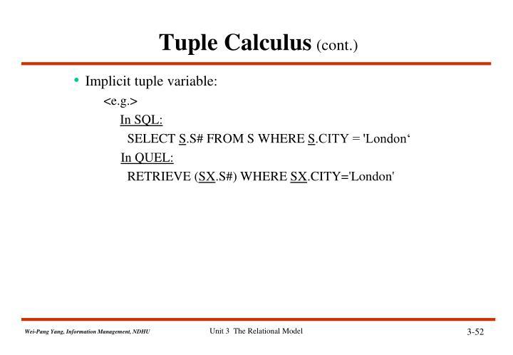 Tuple Calculus