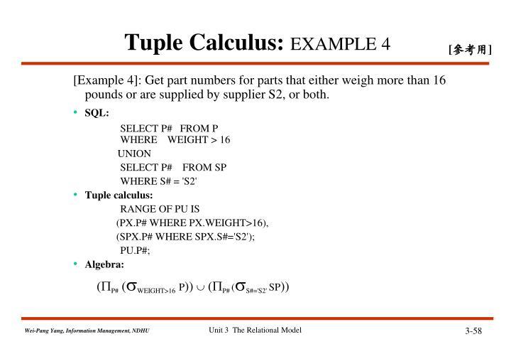 Tuple Calculus: