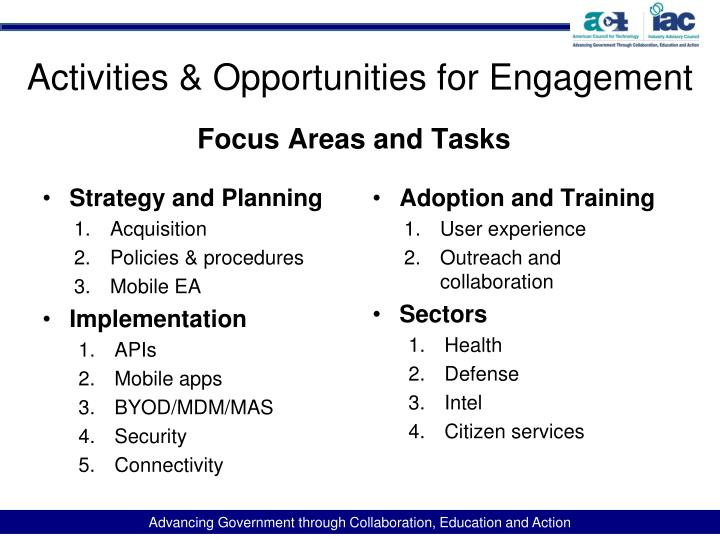 Activities & Opportunities for Engagement