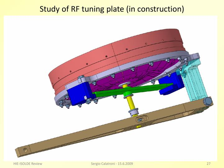 Study of RF tuning plate (in construction)