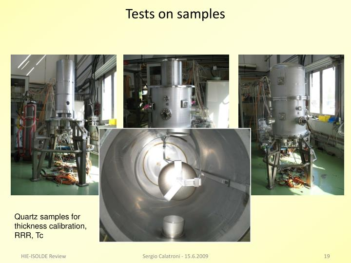 Tests on samples