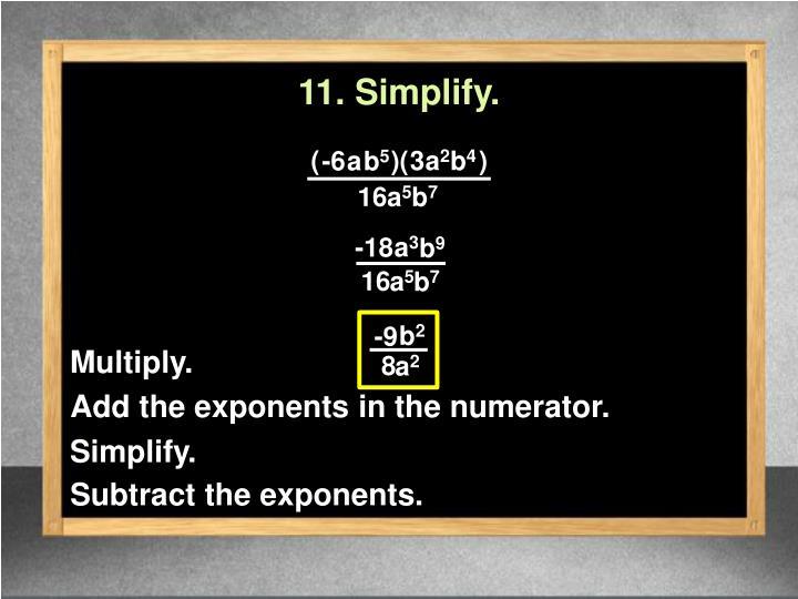 11. Simplify.