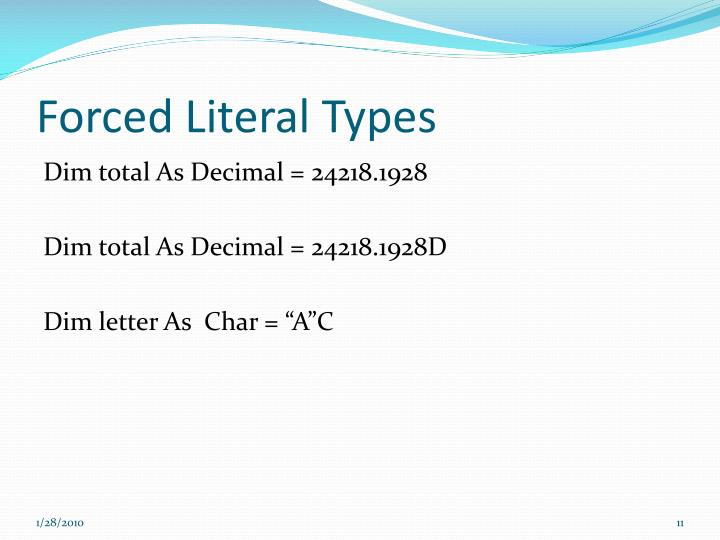 Forced Literal Types