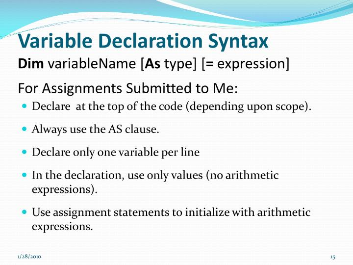 Variable Declaration Syntax