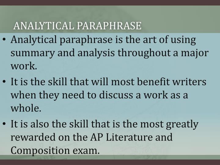 Analytical paraphrase