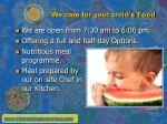 we care for your child s food