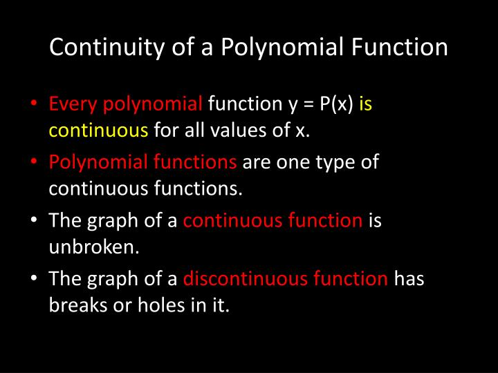Continuity of a Polynomial Function
