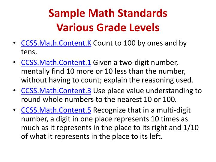 Sample Math Standards