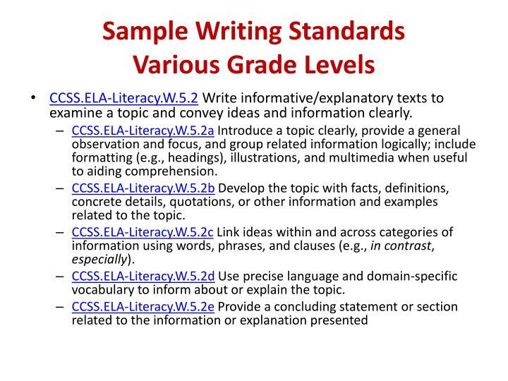 Sample Writing Standards