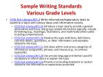 sample writing standards various grade levels1