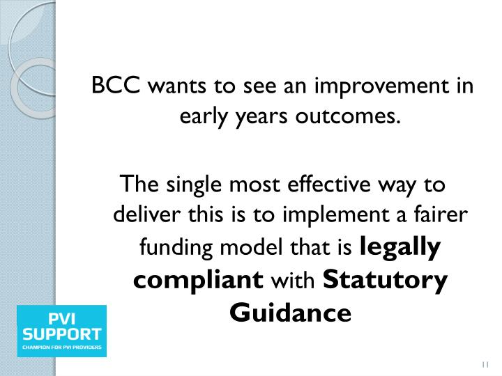 BCC wants to see an improvement in early years outcomes.