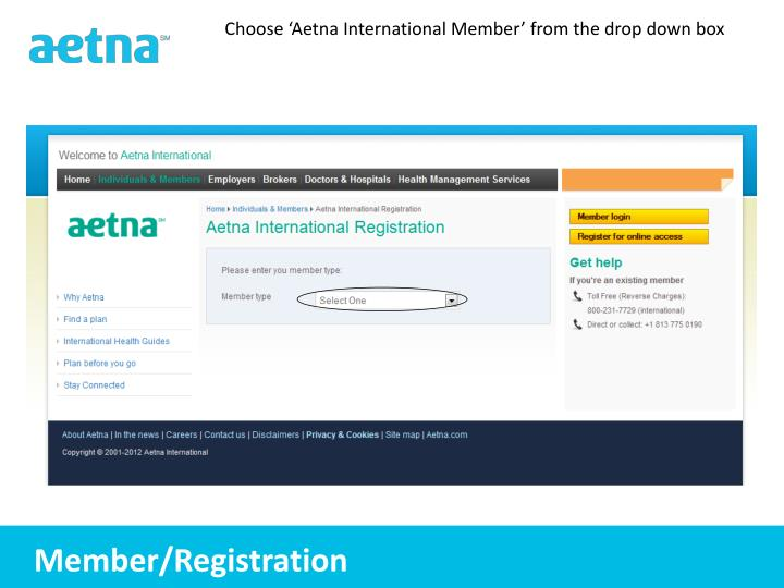 Choose 'Aetna International Member' from the drop down box