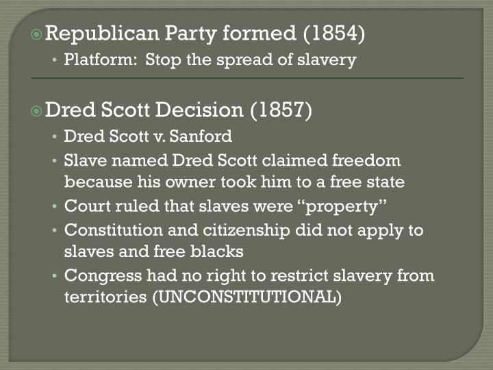 Republican Party formed (1854)