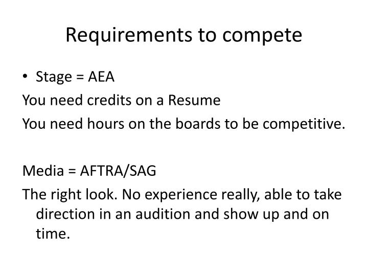 Requirements to compete