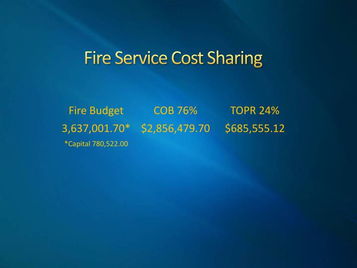 Fire Service Cost Sharing