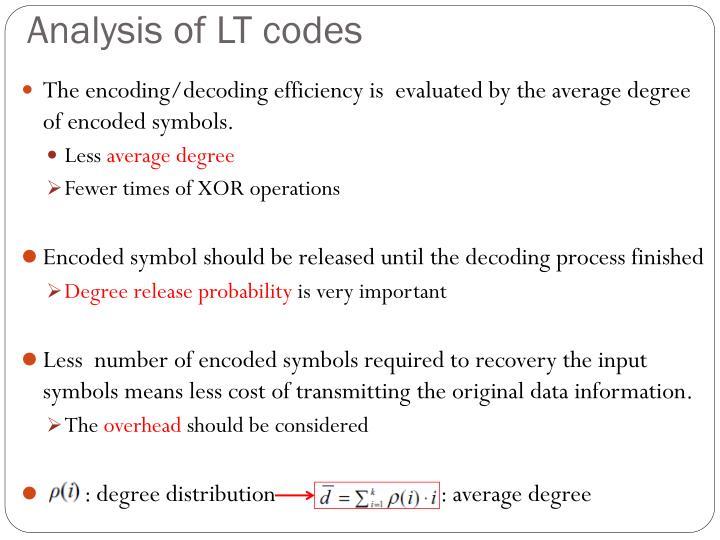 Analysis of LT codes