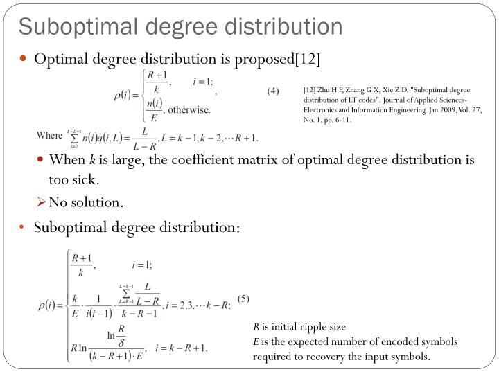 Suboptimal degree distribution