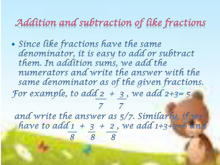 Addition and subtraction of like fractions