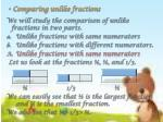 comparing unlike fractions
